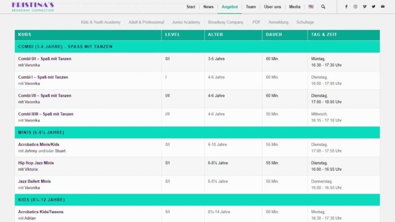 Foto von Stundenplan Webseite