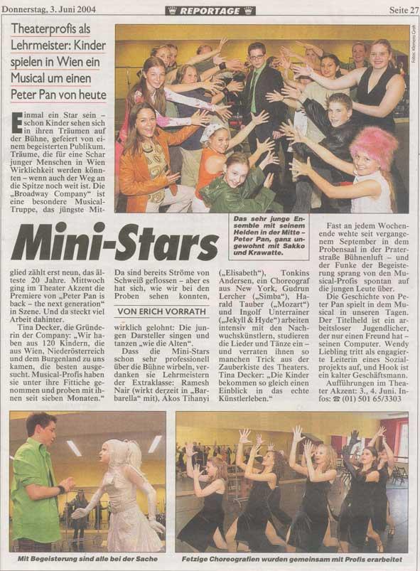 Kronen-Zeitungsartikel zu Peter Pan